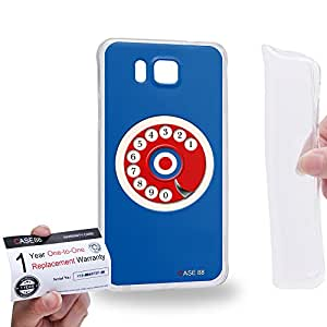 Case88 [Samsung Galaxy Alpha] Gel TPU Carcasa/Funda & Tarjeta de garantía - Art Hand Drawing Blue Retro Phone 2079