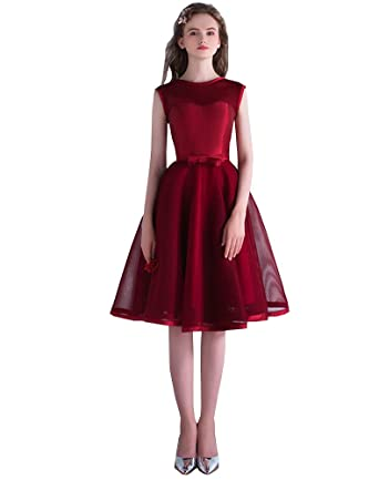 Erosebridal Womens Short Lace Prom Dress Straps Bridesmaid Dress Evening Gown US 2 Burgundy