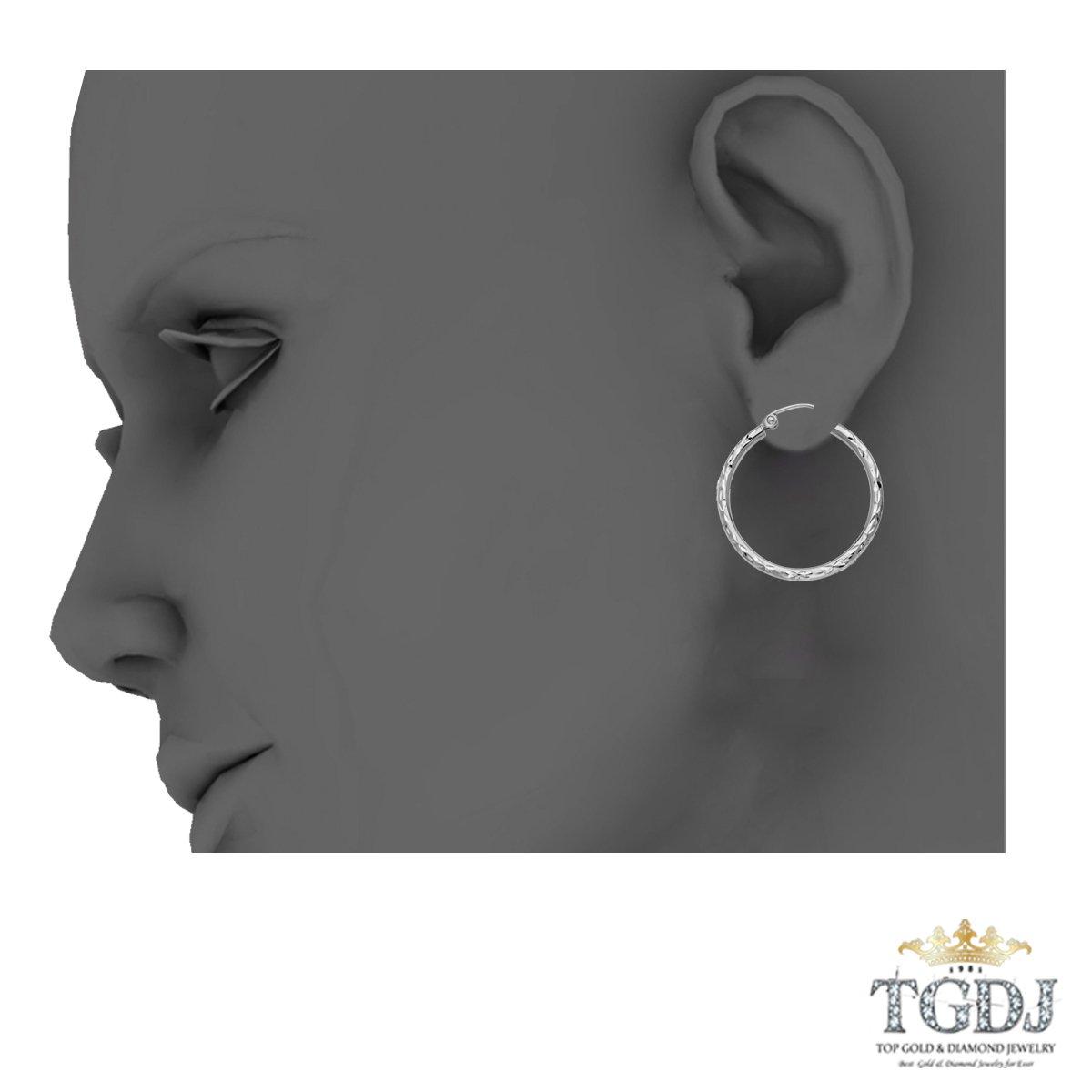 14K White Gold 2mm Diamond Cut Hoop Earrings 25//20//15mm
