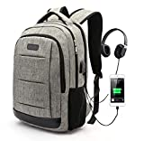 Travel Laptop Backpack,School College Student Bookbag with USB Charging Port & Headphone Interface for Boys Girls Women Men, Water Resistant Business Computer Bag Fits 15.6 Inch Laptop Notebook,Grey