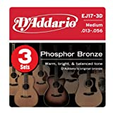 D'Addario EJ17-3D Phosphor Bronze Acoustic Guitar Strings, Medium, 13-56, 3 Sets, Best Gadgets
