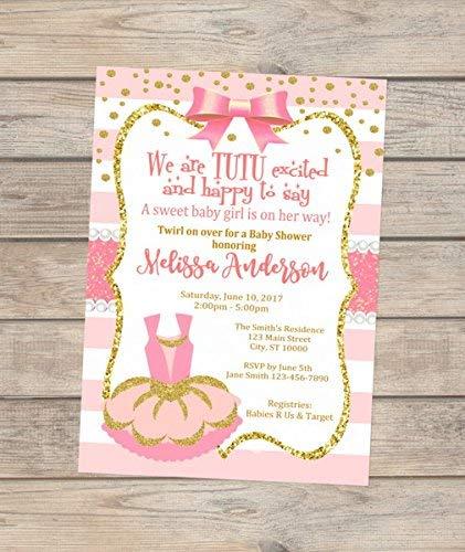 Pink Tutu Ballerina Baby Shower Invitations, Tutu Excited Baby Shower Invitations, Pink And Gold Ballerina Baby Shower Invites Ballerina Baby Shower Invitations