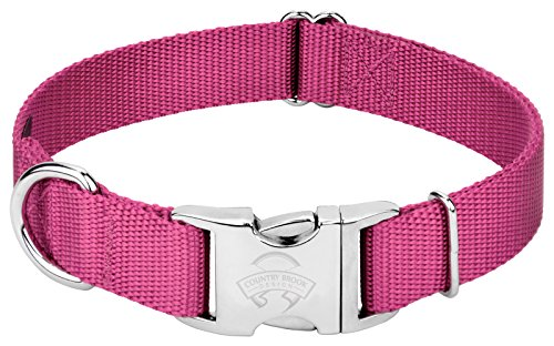 Image of Country Brook Petz | Premium Nylon Dog Collar with Metal Buckle (Medium, 3/4 Inch Wide, Rose)