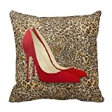 Decorative Cushion Covers Sofa Chair Seat Throw Pillow Case 18X18 Inch Cotton Linen Decorative Pillow Cushion Cover Leopard Red High Heel Shoes Print