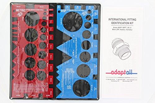 Bspt Thread (AdaptAll TGK-01 International Fitting and Adapter Thread Identification Kit (British BSPP / BSPT / JIS) (Metric German DKO / Light / Standard / Heavy / DIN / Kobelco / Komatsu))