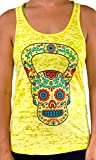 SoRock Women's Kettlebell Skull Burnout Tank Top Yellow