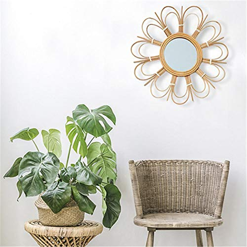 LEEaccessory Boho Mid-Century Vintage Moroccan Style Halo Wicker Mirror, Sunflower Circular Wall -