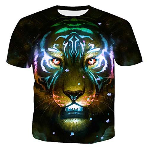 Men's Casual T-Shirts Fashion 3D Printed Cool Tiger Short Sleeve Tee Tops Black