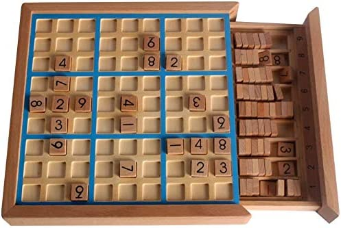 ZXF5 Wooden Number Puzzles Sudoku Board GamesBlue