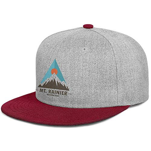 MT Mount Rainier National Park Flat Hat Casual Cotton Adjustable Mesh Visor Baseball Cap Unisex