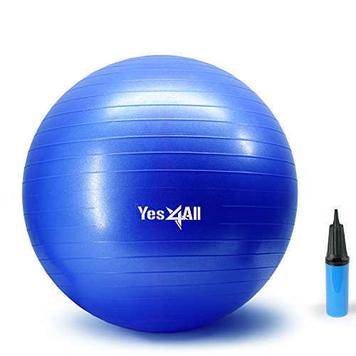 Yes4All Yoga Exercise Ball with Pump (Hand) - Anti Burst & Extra Thick Stability Ball/Balance Ball/Fitness Ball - Small Yoga Ball (55 cm, Blue)