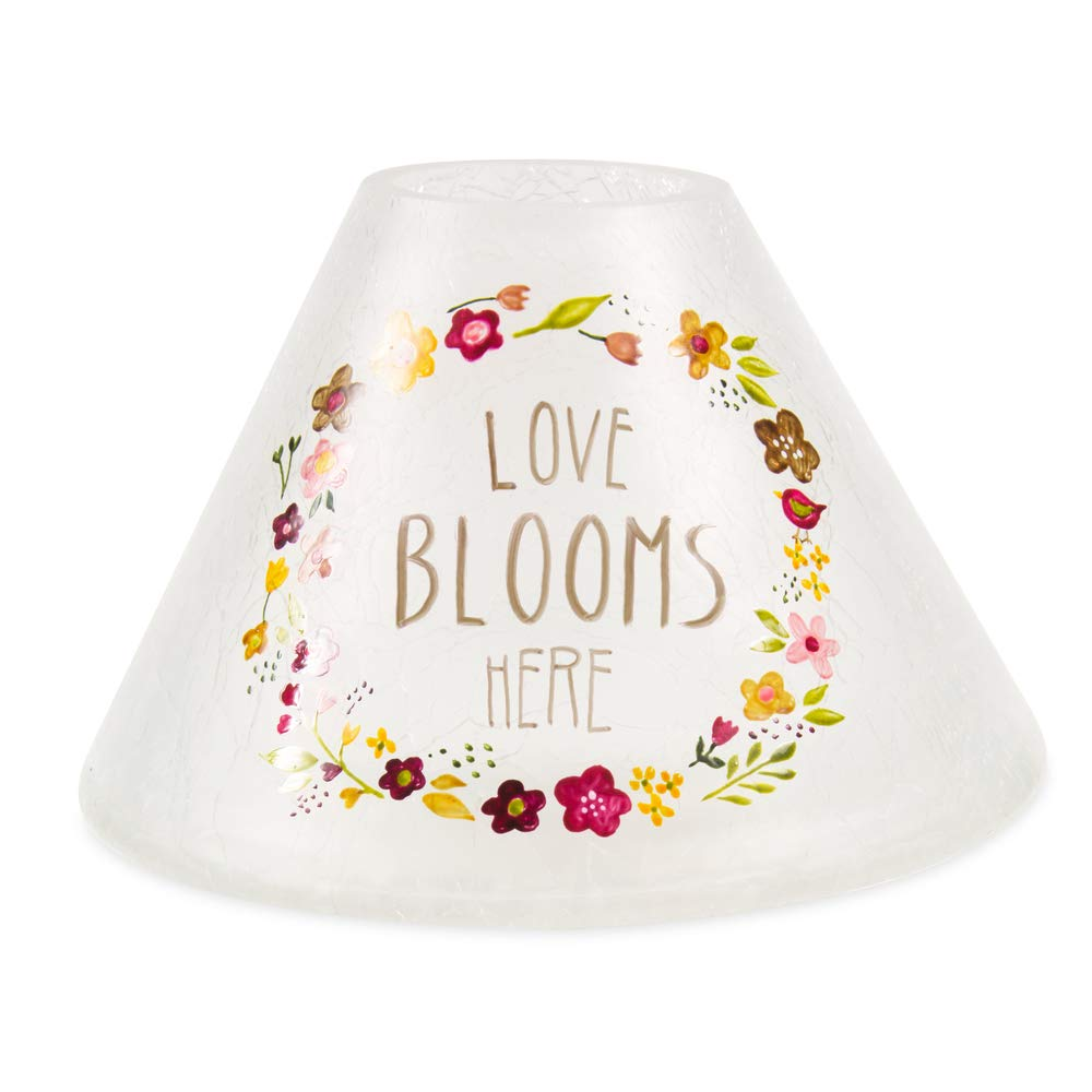 Pavilion Gift Company Love Blooms Here-Hand Painted Floral Frosted and Crackled Glass Jar Large Candle Shade