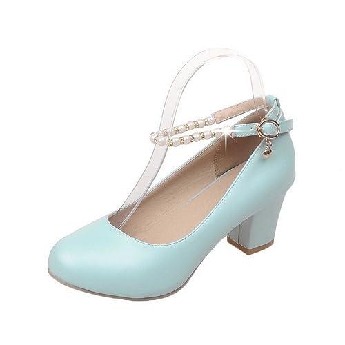 VogueZone009 Donna Luccichio Fibbia Punta Chiusa Tacco Medio Puro  Ballet-Flats, Azzurro, 33