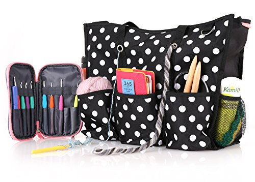 Zip Top Utility Tote Bag – Knitting Yarn Organizer and/or...