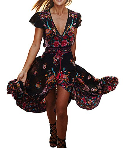 R.Vivimos Women's Summer Vintage Floral Print Deep V Neck High Low Long Dresses Small Black]()