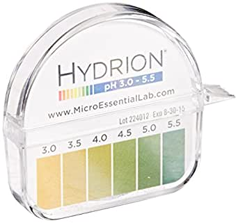 Micro Essential Lab 3110M18EA 325 Hydrion Short Range pH Test Paper Dispenser, 3.0-5.5 pH