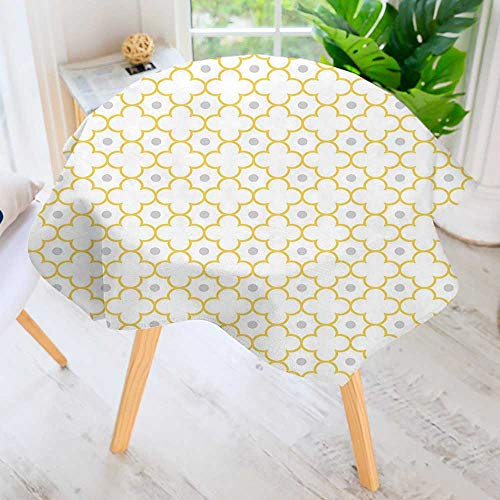UHOO2018 100% Polyester Printed Table Cloth-Style Lattice Pattern Dots in Daisy Diamond Petals Four Leaf Clover Brown White Ideal for Home, Restaurants, Cafés 55