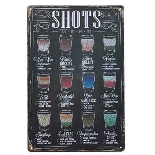 UNIQUELOVER Drink Beer Shots Menu Retro Vintage Tin Sign 12