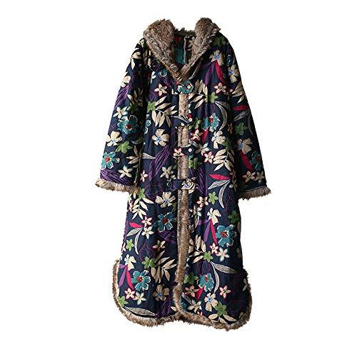 À Rembourré Capuche Matelassé Coupe Fxchen Longue vent Hiver coat Trench L Automne Floral Coton Veste Femmes nw0PkO8X