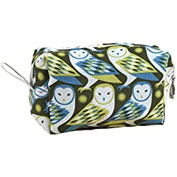 Dana Herbert Lily Small Lined Cotton Cosmetic Bag Owl Print Loaf Shape Made in USA