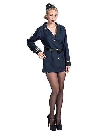 bfd8a9ad796 Amazon.com: EraSpooky Women's Halloween Flight Attendant Costume ...