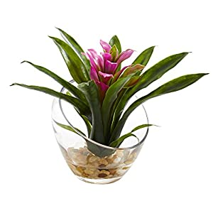 "Nearly Natural Tropical Bromeliad in Angled Vase, 8"", Purple 24"
