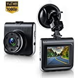 Dash Cam, Lstiaq Mini Dash Camera for Cars with FHD 1080P, 2.0 LCD, 170 Degree Wide-Angle View Lens, G-Sensor, WDR, Loop Recording, Great Night Vision (1080P) (Black#)