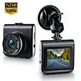 Dash Cam, Lstiaq Full HD 1080P Dashboard Camera for Cars Car Dash Cam Car Camera Driving Recorder Mini 170° Angle with Super Night Vision G-Sensor Loop Recording (Black)