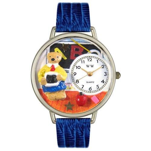 Whimsical Watches Unisex U0230007 Teacher Teddy Bear Royal Blue Leather Watch