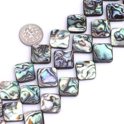 8 Mm Square Beads - 8x8mm Square Flat Natural Abalone Shell Beads Semi Precious Gemstone Beads for Jewelry Making Strand 15 Inch (40pcs)