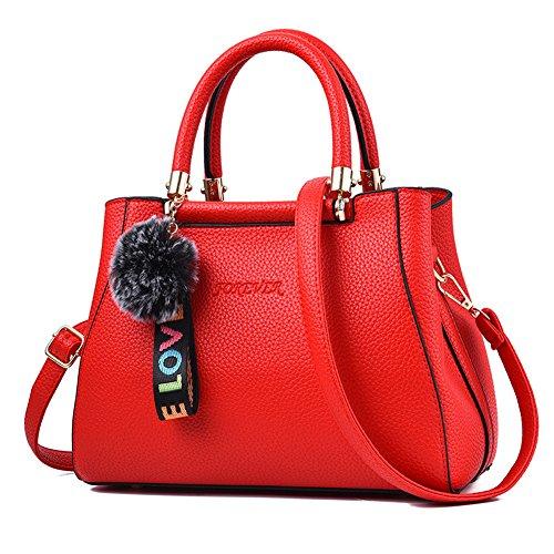 RUIREN Ladies Messenger Bag Handbag, Bolsos de Hombro Multifuncionales Portátiles para Mujeres Borgoña