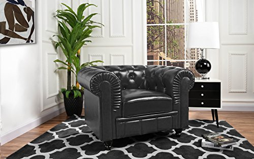 Divano Roma Classic Chesterfield Scroll Arm Tufted Leather Match Accent Chair (Black)