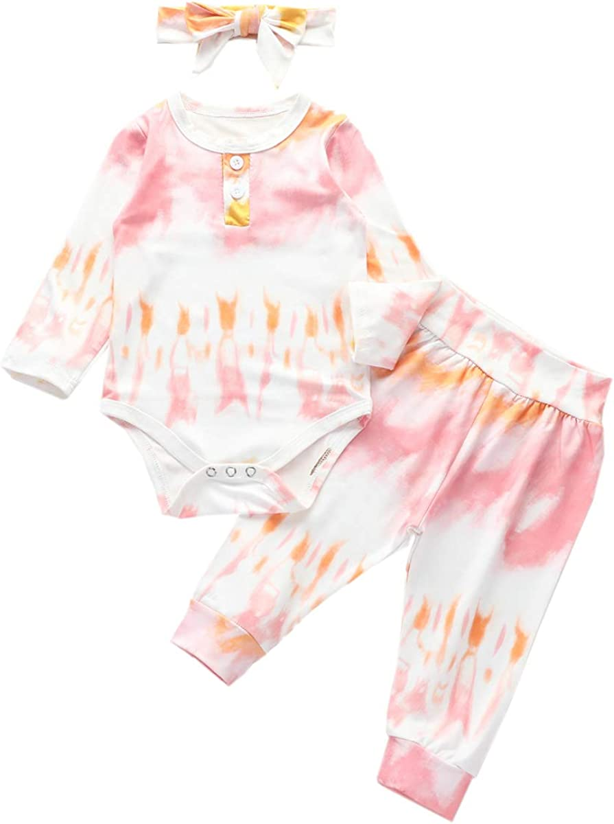 Newborn Baby Girl Clothes Ruffled Long Sleeve Solid Color Jumpsuit Tops+Tie Dye Pants+Headband 3Pcs Outfit Set