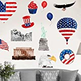 Amaonm Removable PVC American Flag Hot Air Balloon The Bald Eagle Wall Decal US Flag Building Statue of Liberty Wall Stickers Decor for Kids Babys Girls Boys Nursery Bedroom Living Room