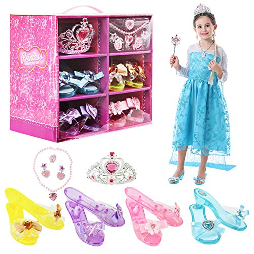 BiBiblack Girls Princess Dress up Shoes Role Play Collection Shoes Set with Princess Tiara and Accessories Jewelries Pink