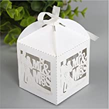 PONATIA 50pcs/Lot Mr & Mrs Wedding Candy Box Sweets Gift Favor Boxes With Ribbon Party Event Decoration (White)