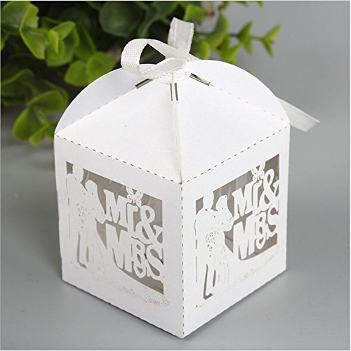 PONATIA 50pcs/Lot 2.3 Inches Laser Cut Pearl Paper Party Wedding Favor  Ribbon Candy Boxes Gift Box White (MR U0026 MRS)