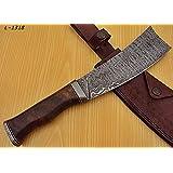 Poshland Knives RK-L-1318- Custom Handmade Damascus Steel 12.00 Inches Cleaver style Knife - Exotic Wallnut Wood Handle