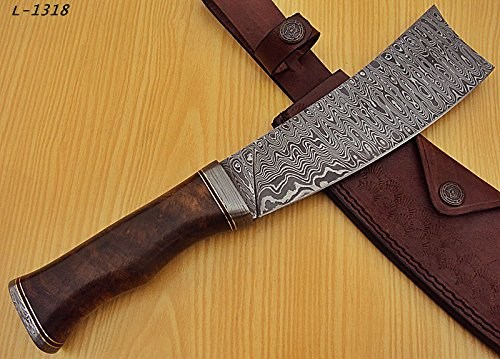 RK-L-1318- Custom Handmade Damascus Steel 12.00 Inches Cleaver style Knife - Exotic Wallnut Wood Handle