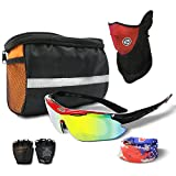 DigHealth(TM) Cycling Equipment Set-(Polarized Sports Sunglasses, Headband, Face Mask, Elbow Guard, Half Finger Glove, Bicycle Handlebar Basket Bag Pannier) for Men and Women