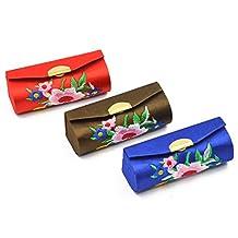 Elisona-3Pcs Fashion Portable Lipstick Case Retro Flower Pattern Premium Embroidery Brocade Holder Box with Mirror Random Color