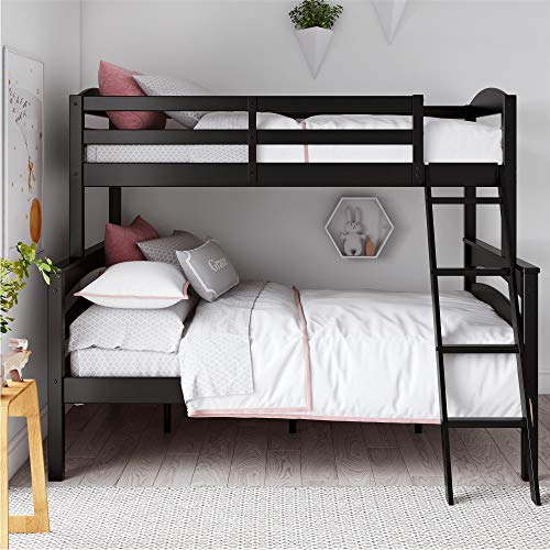 - Dorel Living Brady Solid Wood Bunk Beds Twin Over Full with Ladder and Guard Rail, Black