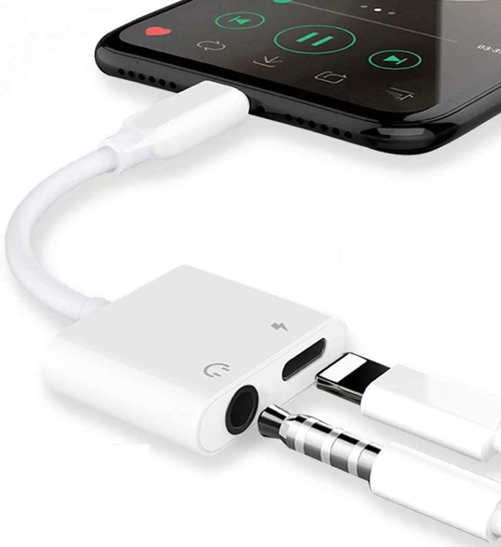 Adaptador de auriculares para iPhone 12 Adaptador a 3,5mm AUX Adaptador de audio Jack Divisor de cable para iPhone 7/8/X/XS/11/12 Conector Dongle para auriculares de 3,5mm Soporte todos los iOS-Blanco