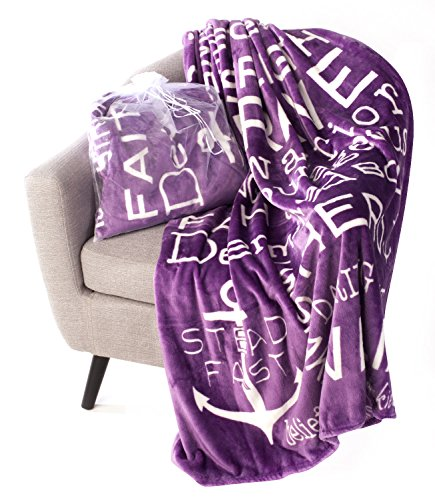 (Blankiegram Bravery Inspirational Throw Blanket for Strength, Encouragement & Perseverance | The Perfect Caring Gift (Purple))