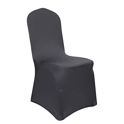Pleasing Deconovo Set Of 12Pcs Dark Grey Chair Covers Folding Dining Chair Cover For Banquet Party Caraccident5 Cool Chair Designs And Ideas Caraccident5Info