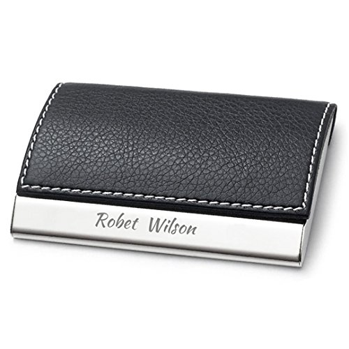 OACREMEMBERED Personalized Black Leather Magnetic Business Card Holder | Stainless Steel Credit Card Case Free Engraving