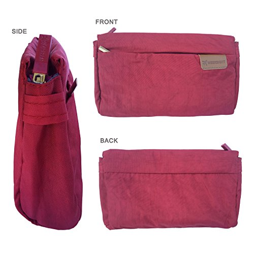 Travel Satchel small Waterproof Outdoors Nylon Purse Bag Crossbody Lightweight FanCarry Burgundy P5pSxFwq