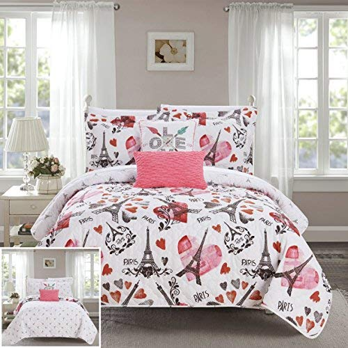 (Chic Home Grand Palais 5 Piece Reversible Quilt Set Paris is Love Inspired Printed Design Coverlet Bedding - Decorative Pillows Shams Included Size Queen)