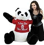 Romantic Life Size Stuffed Panda, Soft Big Plush Bear Wears Tshirt I Love You This Much