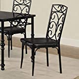 Set of 2 Black Dining Chair With Faux Leather Seat and Metal Based Frame